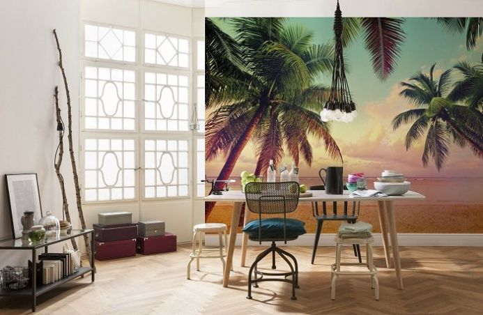 Miami beach & palms giant paper wallpapers by Homewallmurals